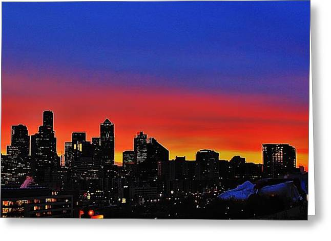 Urban Space Greeting Cards - Seattle Dawning Panorama Greeting Card by Benjamin Yeager