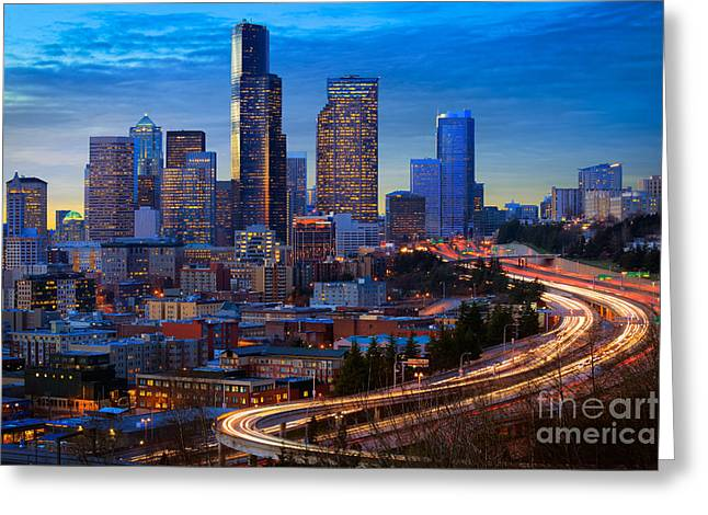 American North West Greeting Cards - Seattle Downtown Greeting Card by Inge Johnsson