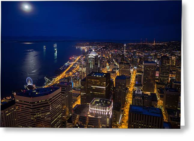 Seattle Downtown Moonrise Greeting Card by Mike Reid
