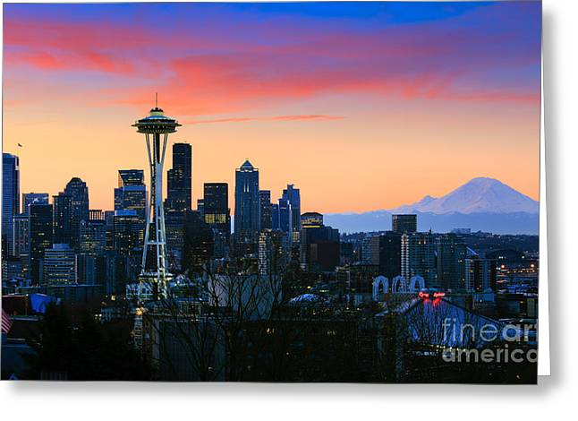 Seattle Downtown Morning Greeting Card by Inge Johnsson