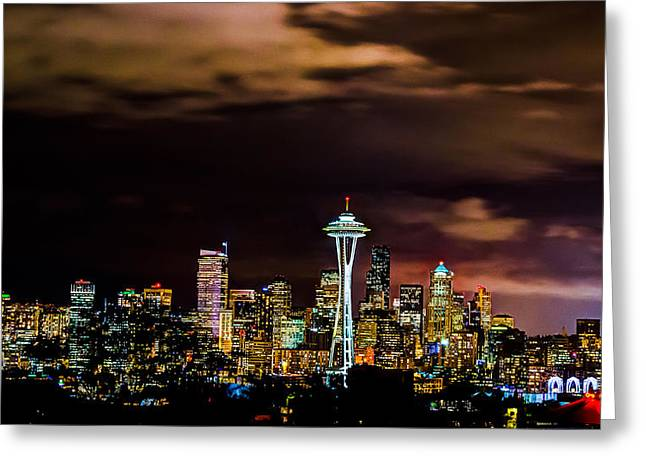 Seattle Skyline Framed Prints Greeting Cards - Seattle Downtown Greeting Card by Rajiv Karanam