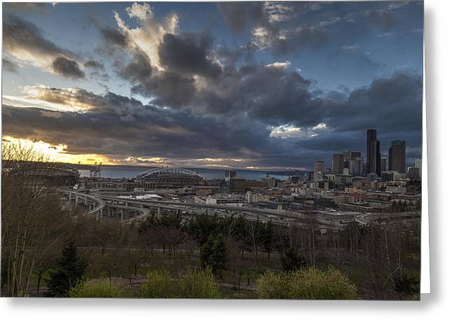 Seattle Skyline Greeting Cards - Seattle Dramatic Dusk Greeting Card by Mike Reid