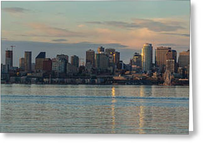 Seattle Skyline Greeting Cards - Seattle Dusk Skyline Reflection Greeting Card by Mike Reid