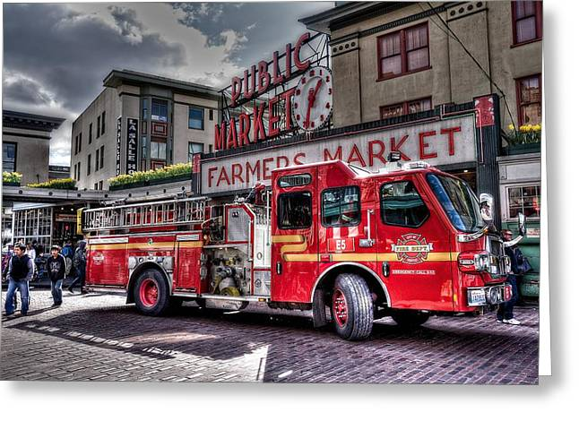 Fire Engines Greeting Cards - Seattle Fire Engine Greeting Card by Spencer McDonald