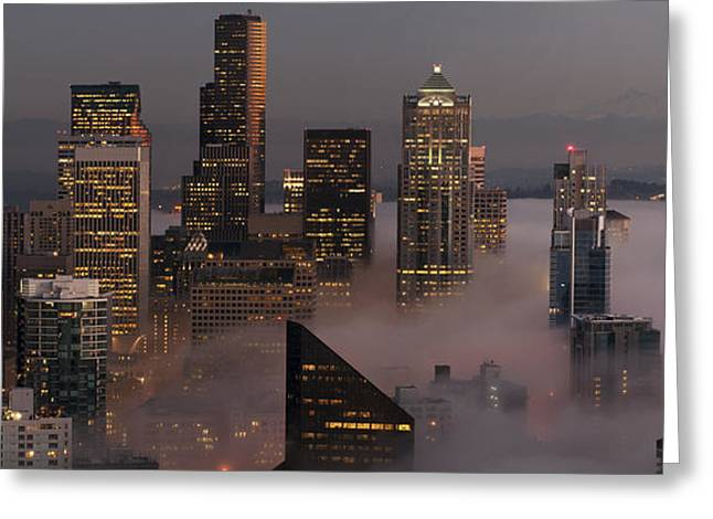 Seattle Skyline Greeting Cards Greeting Cards - Seattle fog with Mt. Rainer Greeting Card by James Tarver