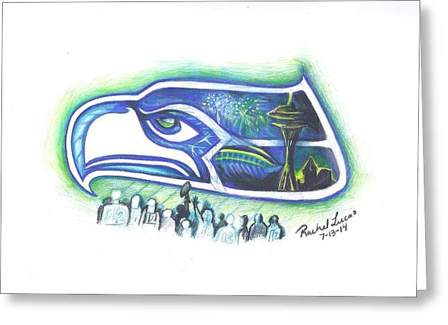 Fireworks Drawings Greeting Cards - Seattle Football 3.0 Greeting Card by Rachel Lucas