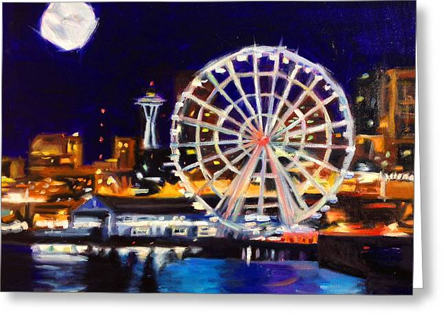 Pacificnorthwest Greeting Cards - Seattle Great Wheel Greeting Card by Aaron Hazel