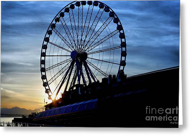 Historic City Pier Greeting Cards - Seattle Great Wheel Greeting Card by Cheryl Young