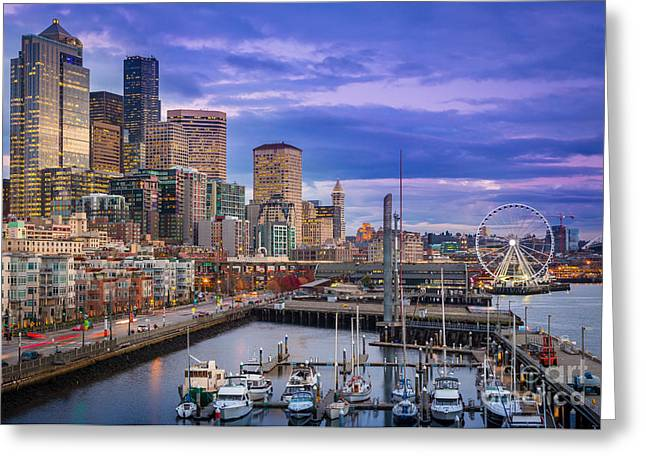 Puget Sound Greeting Cards - Seattle Great Wheel Greeting Card by Inge Johnsson