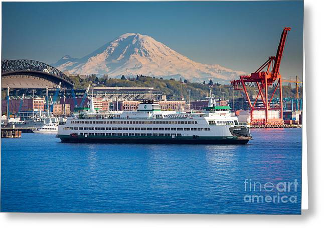 Crane Greeting Cards - Seattle Harbor Greeting Card by Inge Johnsson