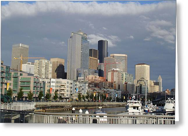 Seattle Skyline Greeting Cards Greeting Cards - Seattle Harbor View Greeting Card by Linda Mans