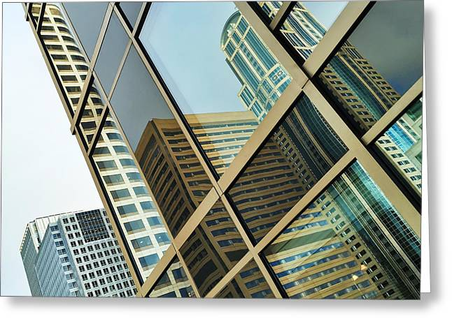 Cellphone Greeting Cards - Seattle High Rises in Reflections Greeting Card by Jonathan Nguyen