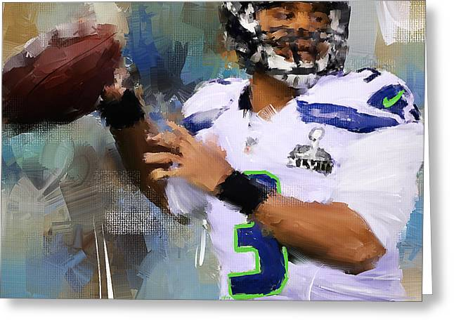 American Football Paintings Greeting Cards - Seattle Icon Greeting Card by Lourry Legarde