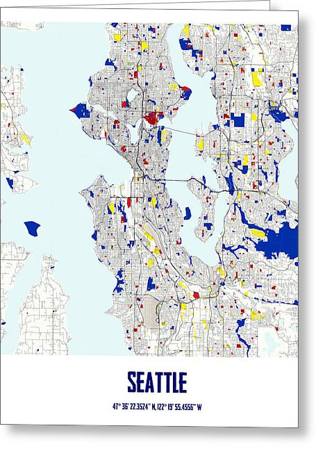 Circles Squares Triangle Textured Greeting Cards - Seattle Label mid Piet Mondrian Style City Street Map Art Greeting Card by Adam Asar