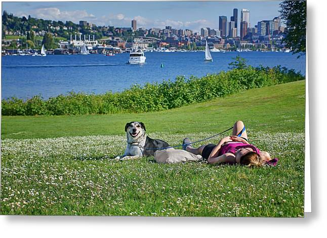 Lady Washington Greeting Cards - Seattle - Lake Union - Gas Works Park Greeting Card by Nikolyn McDonald