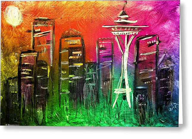 Pacific Northwest Mixed Media Greeting Cards - Seattle Land of Color Greeting Card by Melisa Meyers