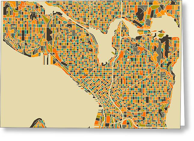 Seattle Landmarks Greeting Cards - Seattle Map Greeting Card by Jazzberry Blue