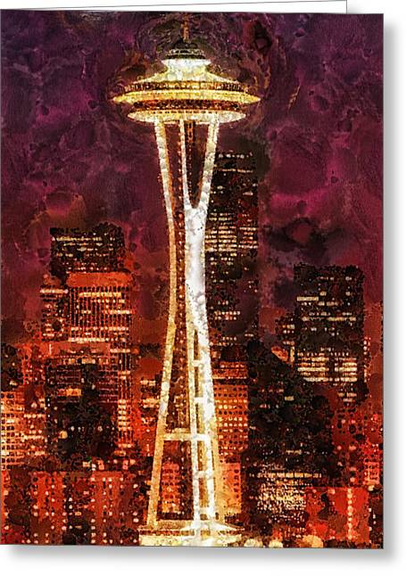 Seattle Greeting Card by Mo T