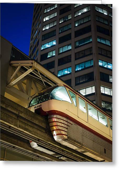 Monorail Greeting Cards - Seattle Monorail Greeting Card by Kyle Wasielewski