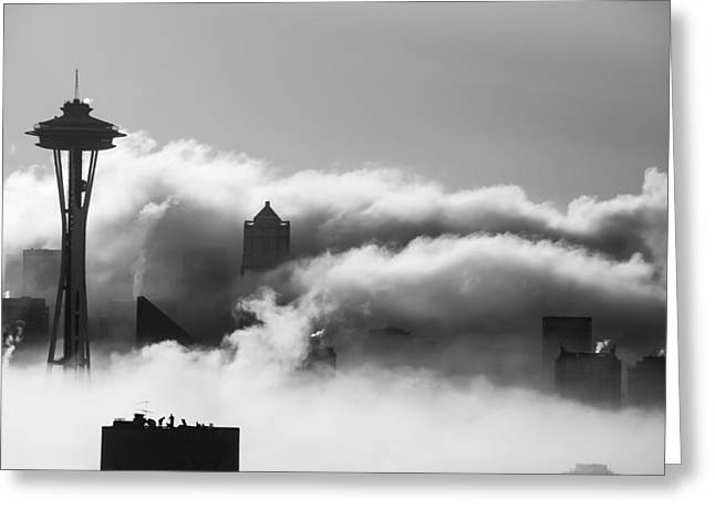 Backlit Prints Greeting Cards - Seattle Fog Greeting Card by Kyle Wasielewski