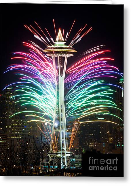 Urban Space Greeting Cards - Seattle New Year Greeting Card by Inge Johnsson