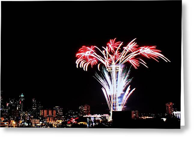Seattle New Years Greeting Card by Benjamin Yeager
