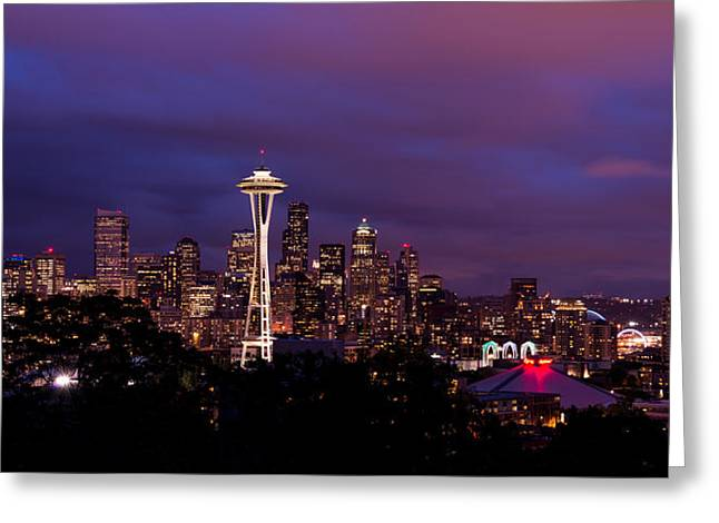 Seattle Night Greeting Card by Chad Dutson