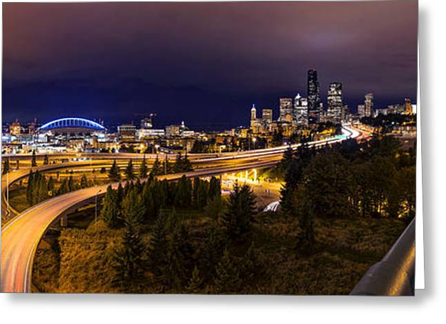 High Resolution Prints Greeting Cards - Seattle Night Panorama Greeting Card by Dustin  LeFevre