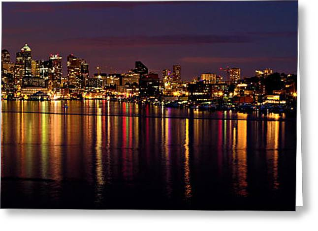 Seattle Waterfront Greeting Cards - Seattle Night Reflections Greeting Card by Mary Jo Allen