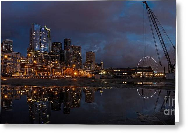 Seattle Skyline Greeting Cards - Seattle Night Skyline Greeting Card by Mike Reid
