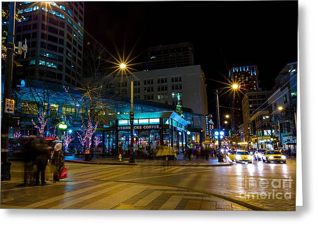 Streetlight Greeting Cards - Seattle Night Visions 5 Greeting Card by Alanna DPhoto