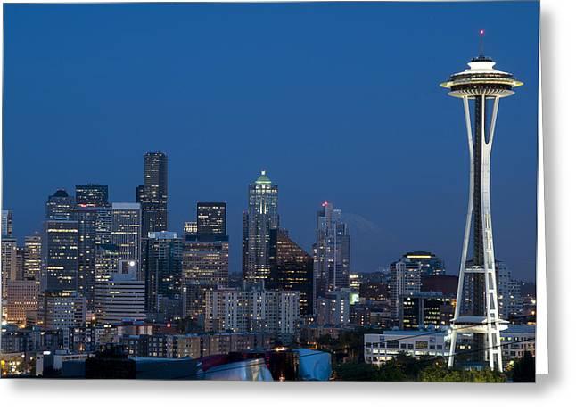 Seattle Nights Greeting Card by David Yack