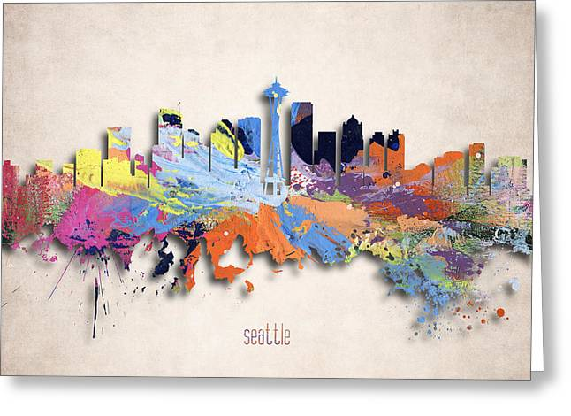 Seattle Landmarks Greeting Cards - Seattle Painted City Skyline Greeting Card by World Art Prints And Designs