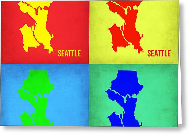 Seattle Greeting Cards - Seattle Pop Art Map 1 Greeting Card by Naxart Studio