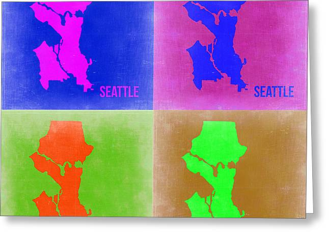 Seattle Greeting Cards - Seattle Pop Art Map 2 Greeting Card by Naxart Studio