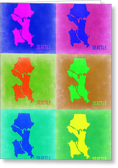 Seattle Greeting Cards - Seattle Pop Art Map 3 Greeting Card by Naxart Studio