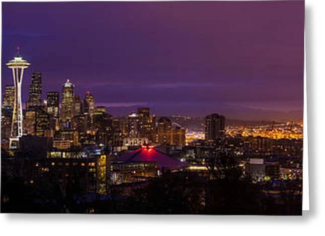 Seattle Pre Sunrise  Greeting Card by Mike Reid
