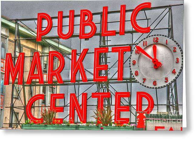 Tap On Photo Greeting Cards - Seattle Public Market Center Clock Sign Greeting Card by Tap  On Photo