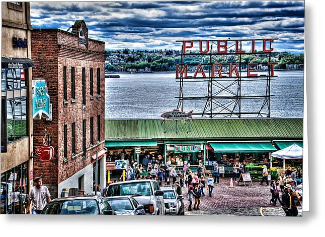 Iconic Places Greeting Cards - Seattle Public Market II Greeting Card by Spencer McDonald