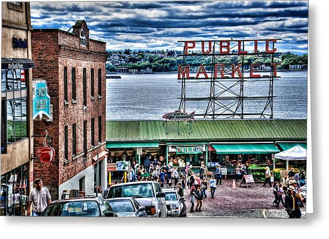 Tone Mapped Greeting Cards - Seattle Public Market II Greeting Card by Spencer McDonald