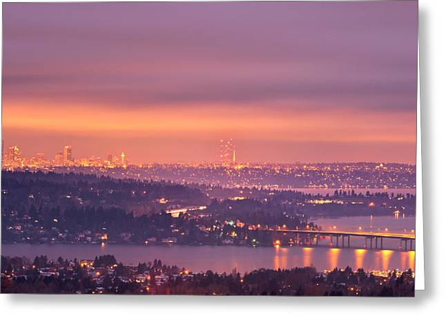 Bellevue Greeting Cards - Seattle Purple Dawn Greeting Card by Thorsten Scheuermann