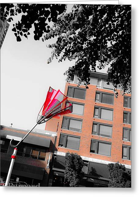 Seattle Red Umbrella  Greeting Card by Guinapora Graphics