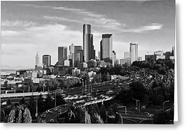 Congestion Greeting Cards - Seattle Rush Hour Greeting Card by Valery Poltorak