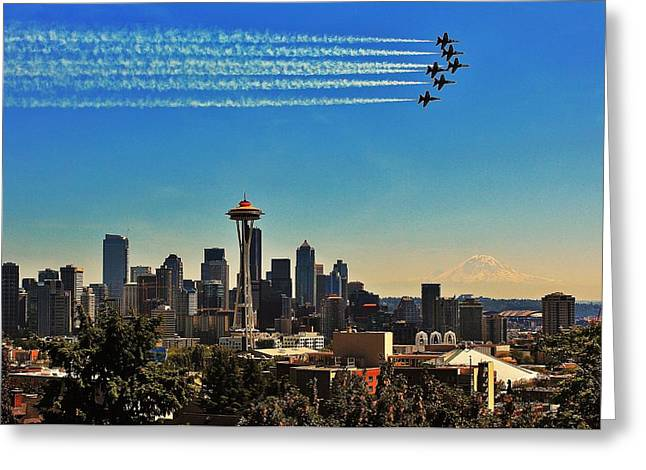 Angel Blues Greeting Cards - Seattle Seafair Greeting Card by Benjamin Yeager