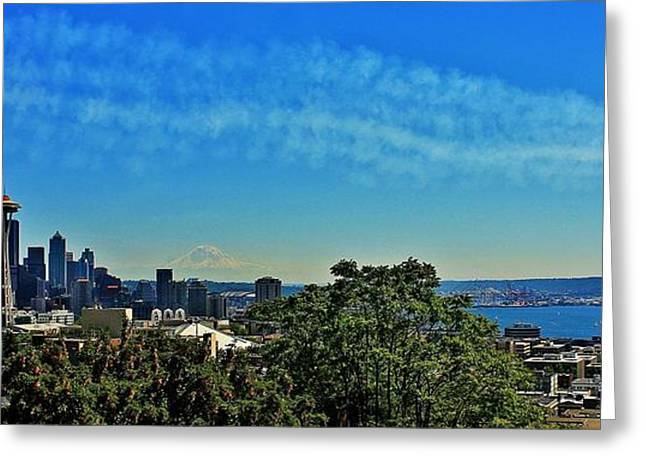 Angel Blues Greeting Cards - Seattle Seafair Panorama Greeting Card by Benjamin Yeager