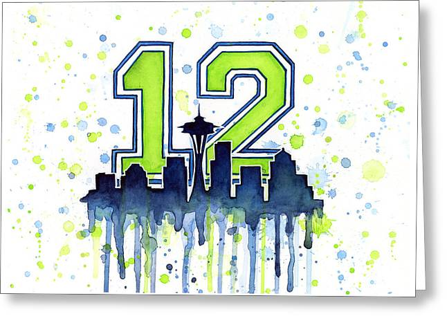 Seattle Skyline Greeting Cards - Seattle Seahawks 12th Man Art Greeting Card by Olga Shvartsur