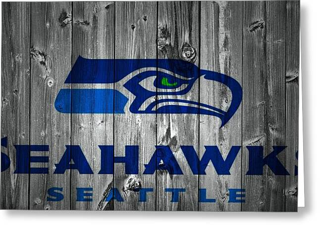 Nfl Mixed Media Greeting Cards - Seattle Seahawks Barn Door Greeting Card by Dan Sproul