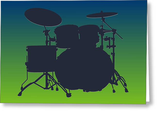 Drum Greeting Cards - Seattle Seahawks Drum Set Greeting Card by Joe Hamilton