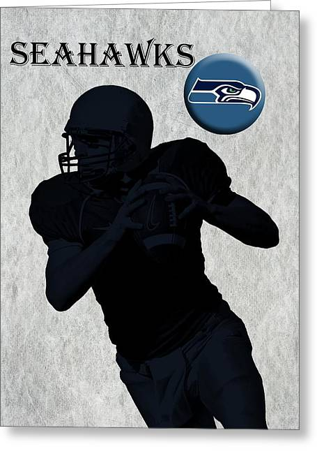 Pro Football Digital Greeting Cards - Seattle Seahawks Football Greeting Card by David Dehner