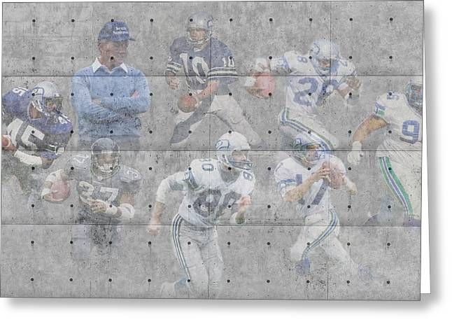 Seattle Greeting Cards Greeting Cards - Seattle Seahawks Legends Greeting Card by Joe Hamilton